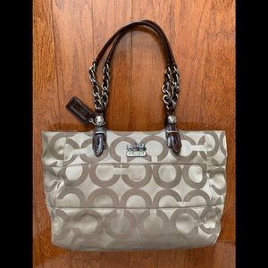 Coach Khaki Op Art Tote Bag